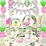 WERNNSAI Set di Forniture per Feste Fenicottero - 169 PCS Decorazioni per Luau Tropical Party per Ragazza Compleanno Striscioni Palloncini Posate Borsa Tovaglie Piatti Tovaglioli Utensili Paglia