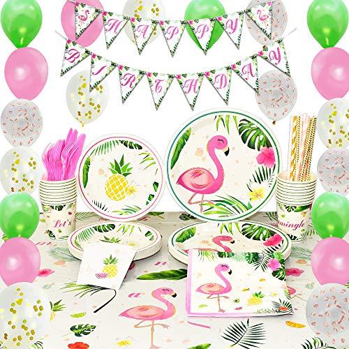 rty Zubehör Set - 169 PCS Tropische Luau Partydekorationen für Mädchen Geburtstag Banner Ballons Bestecktasche Tischdecke Platten Tassen Servietten Strohhalme Utensilien 16 Gäste ()
