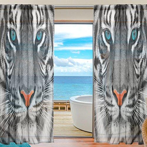 DOSHINE Vorhang mit Tiermotiv und Tigergesicht für Jungen Mädchen Wohnzimmer Badezimmer Schlafzimmer 139,7 x 198 cm 2 Panels, Polyester, Multi, 55