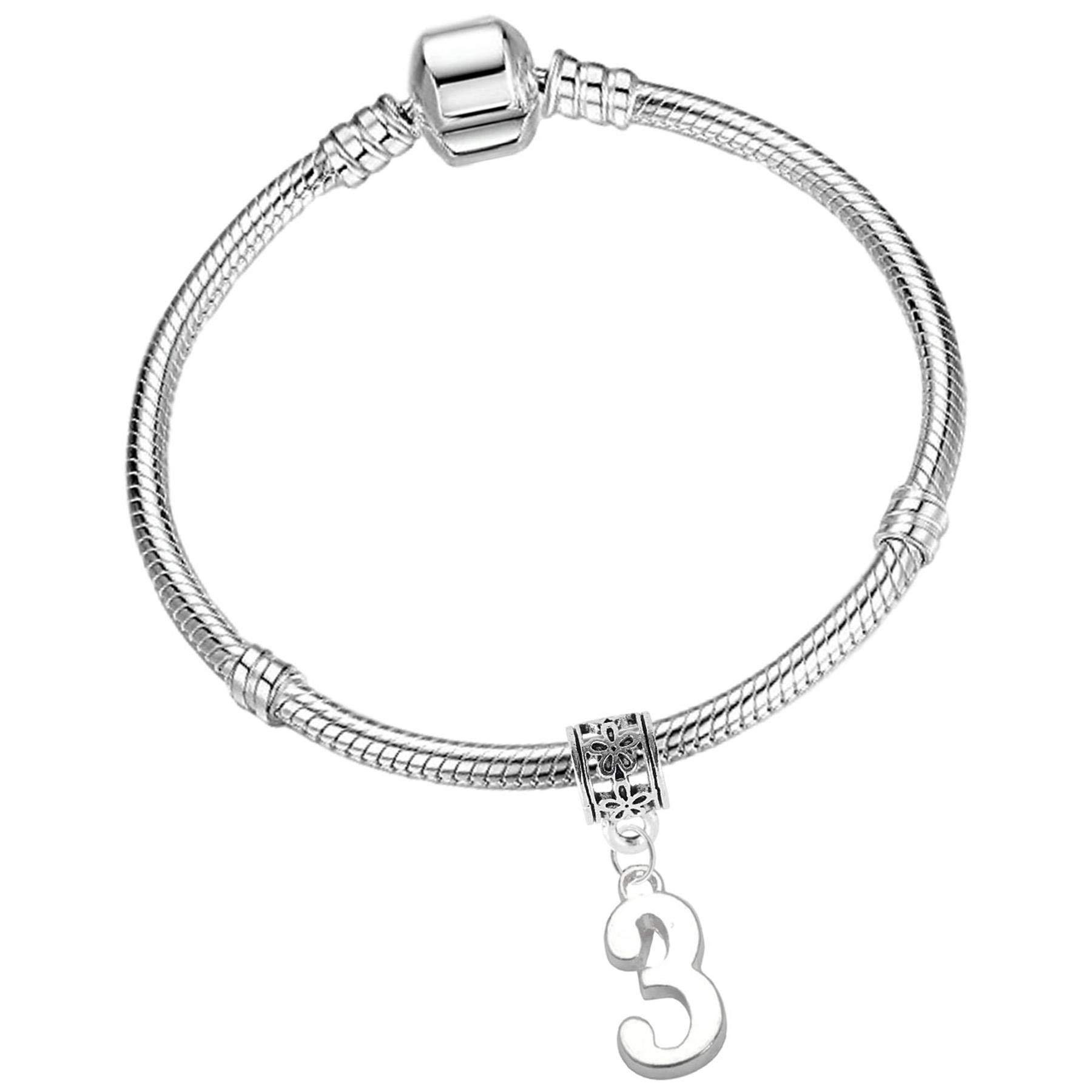 Girls Birthday Starter Charm Bracelet with Gift Box Ages 3rd 4th 5th 6th 7th 8th 9th 10th 11th 12th 13th Birthday Gifts for Girls