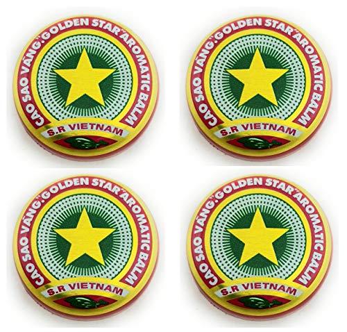 4 x 3g Golden Star Balm - Cao Sao Vang - Golden Star Balsam - Gold Star Balsam - Schmerz - aromatischen - natürliches Heilmittel - vietnamesischen Salbe - Relief - Only From Vietnam -