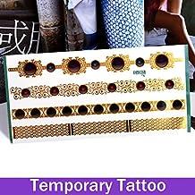 oxgrow (TM) 1hoja Gemstone Golden flash Tatto Metallic Foil Fashion Vintage Tatuajes Temporales Pegatinas Tatuajes maquillaje