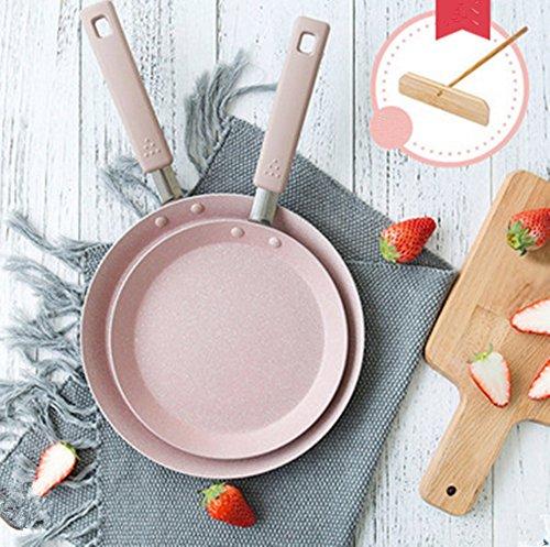 Mini Nonstick Pan Bratpfanne unbeschichtet Non-Stick-Haushalt Gasherd Induktionsherd Universal, 16cm, 20cm, 24cm , pink , 24m Non-stick-cookie Pan