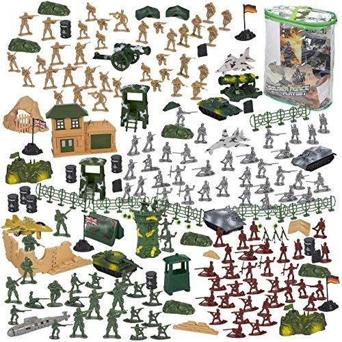 Blue panda 300-piece azione esercito figure set, giocattolo militare soldato playset carri armati, aerei, bandiere campo di battaglia del partito degli accessori di visualizzazione multicolore
