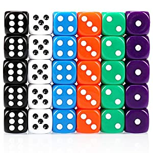 H&S 30x Dice 6 Sided 16mm 6 Colours Spot Dice Set for Dice Games by H&S Alliance UK Ltd