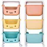 DoubleBlack Panier de Rangement pour Jouets Organisateur de collations pour Enfants Mobile Rack à 3 Couches en Plastique pour