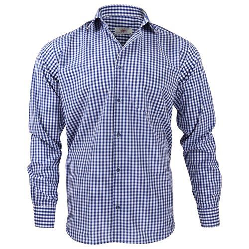 Herren Blau-kariertes Hemd (Captain Classic Fit Herren Hemden (in 24 Verschiedenen Farben) Langarm-Hemd 100% Baumwolle (L, Blau (Kariert)))