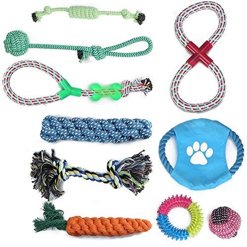 g Set 10er Pack Hund Welpen Kauen Baumwolle Seile Spielzeug für Haustiere (Bunt) (Hund Kauen Spielzeug)