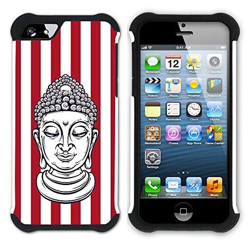 Graphic4You Buddha-Kopf Streifenmuster (Wasserblau) Hart + Weiche Kratzfeste Hülle Case Schale Tasche Schutzhülle für Apple iPhone SE / 5 / 5S Rot