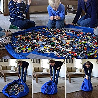 Almondcy Baby Toy Storage Bag Foldable Children Play Mat Child Toy Organizer Shoulder Bag 60 inch (Blue)