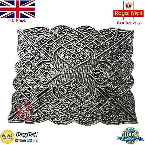 New Celtic Knot Kilt Belt Buckle Silver Antique Finish/Highland Kilt Belt Buckle