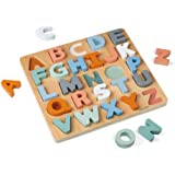 Janod - Puzzle Alphabet en Bois 26 Pièces - Collection Sweet Cocoon - Jouet d'Eveil et Premier Âge Peint à l'Eau et Certifié
