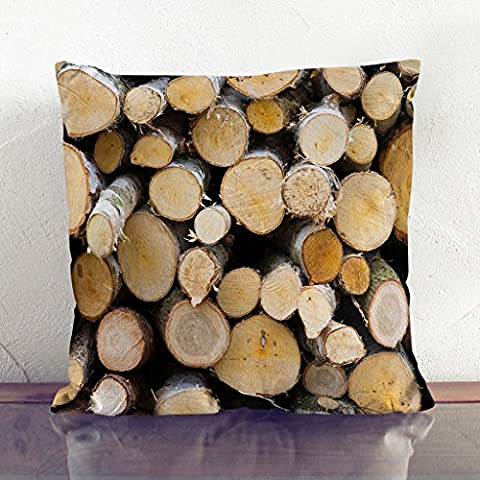 Double-Sided Faux Suede Cushion 17 x 17 Inch (45 x 45 cm) Wood Logs Square Throw Pillow Cover and Cushion Pad - FREE DELIVERY
