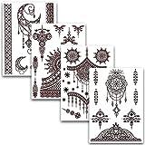 Tatuaggi Temporanei In Diversi Disegni | Adesivi Rimovibili Arabi Di Colore Hennè | Set Di 4 Fogli Con 40 Bellissimi Tatuaggi – di Ahimsa Glow®
