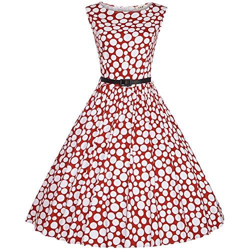 Vintage 1950's Audrey Hepburn Style Rockabilly Swing Pin-up Polka Dots Sans Manche Robe De Soirée Rétro Cocktail À Pois Avec Ceinture Rouge