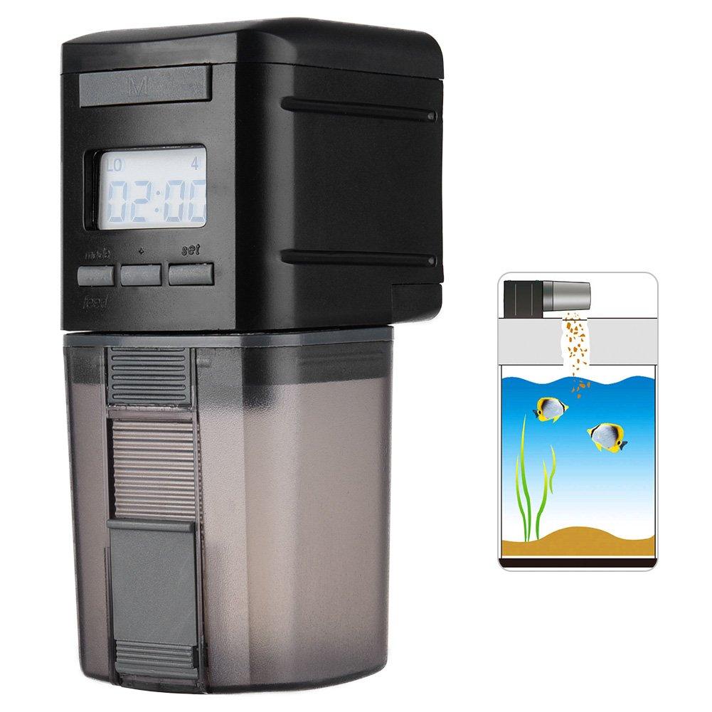 Petacc Dosatore Mangime Automatico per Pesci con Display LCD e Impostazione del Tempo di Alimentazione, Adatto per Acquario, Serbatoio per Pesci e Tartarughe