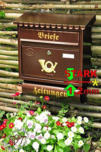 BTV Briefkasten F groß in kupfer kupferbraun braun Zeitungsfach Zeitungen Post antik Mailbox Schild - Kupfer Schild