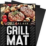 """ALAIX BBQ Grill Mat, 100% anti-aderente, facile da pulire, riutilizzabili, perfetta per la cottura in forno e per il Barbecue, nero, 3 Pack, 15.75""""x13"""""""