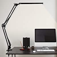 LED Desk Lamp, MINLUK 14W Eye-Caring Table Lamp with USB Charging Port, Swing Arm Desk Light with Clamp, 3 Color Modes…