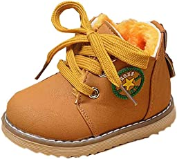 Voberry Unisex-Baby Toddler Warm Fur Winter Snow Boot Leather Walking Shoes