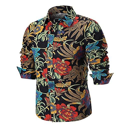 48e7534c624519 Innerternet Top da Uomo a Maniche Lunghe con Stampa a Fiori Slim,T-Shirt