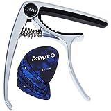 Anpro Capodastre de Guitare Et 6pcs Médiators Electrique Acoustique Capo Pince En Alliage de Zinc Pour Ukulélé,Guitare,Banjo,Guitares Folk- 7 * 9 cm