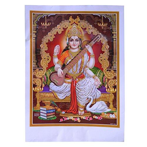 Bild Sarasvati Saraswati 50 x 70 cm Gottheit Hinduismus Kunstdruck Plakat Poster Glitzerfarbe Religion Spiritualität Dekoration