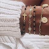 Edary - Set di braccialetti con nappe, con croce dorata, accessori per monete e catenine regolabili per donne e ragazze (4 pe
