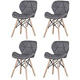 Injoy Life Lot de 4 chaises de salle à manger modernes avec pieds en bois massif, style rétro, en tissu de lin pour salon, sa