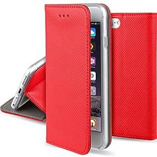 Moozy Hülle Flip Case für iPhone 5s / iPhone SE, Rot - Dünne magnetische Klapphülle Handyhülle mit Standfunktion