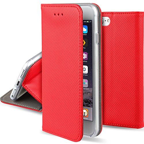 iPhone 5s SE Funda Rojo - Flip cover Smart magnética de Moozy® con Stand plegable y soporte de silicona