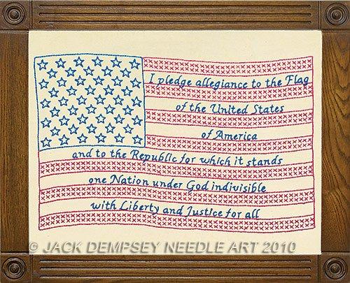 Jack Dempsey Prägung Antik Sampler 27,9x 35,6cm -flag