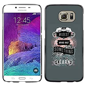Omega Covers - Snap on Hard Back Case Cover Shell FOR Samsung Galaxy S6 - Grey Learn Teacher School Text Quote