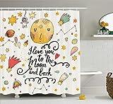 Kcouu Maison Decor Collection, 'I Love You to the moon and back' Romantique Citations Dessin animé des planètes Lune astronautes étoiles, tissu de polyester de salle de bain Rideau de douche avec ensemble de crochets, Moutarde Blanc