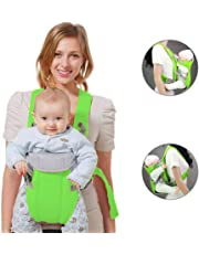 Arkmiido Cotton Adjustable Waist Strap Baby Outdoor Carrier Sling Bag (Green)