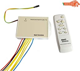 Blackt Electrotech BT-20DD Wireless Remote Control Switch System with Speed Regulation for 4 Lights and 1 Fan (White)