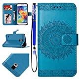 EUWLY Handyhülle Samsung Galaxy S5 Flip Case Hülle Ledertasche Lederhülle Schutzhülle Klapphülle Leder Handytasche Dünn Handy Schutzhülle Tasche Cover Geldbörse Etui,Mandala Blumen Blau