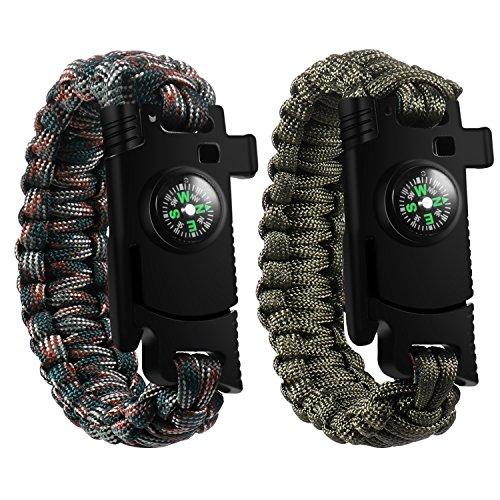 Lesfit Bracelet Survie, 5-en-1 Bracelet Militaire Multifonctionnel Paracorde Tressage pour Homme et Femme (2 pack)