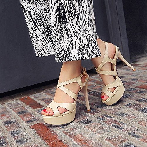 Mee Shoes Damen reizvoll modern Minimalismus Schnalle Peep toe Slingback Stiletto mit falscher Perle Plateau Sandalen Beige