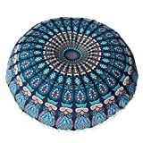 Cushion Cover, Manadlian 2017 Large Mandala Floor Pillows Case Round Boho Meditation Cushion Cover Ottoman Pouf (80*80cm, Blue)