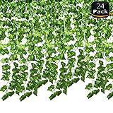Jeu de 24paquets de guirlandes de lierre artificielle. Guirlandes au motif de vignes artificielles pour décoration murale de mariage, maison, cuisine, jardin, bureau.
