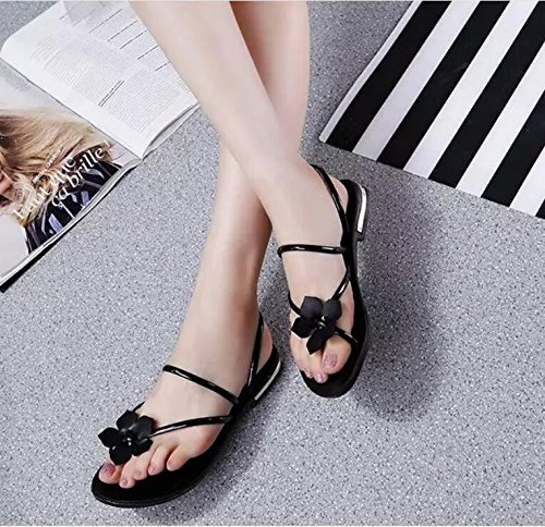 khskx-black Flower Leisure donne scarpe coreano piatto fondo piatto pizzico toe Cool pantofole, Thirty-nine Thirty-eight