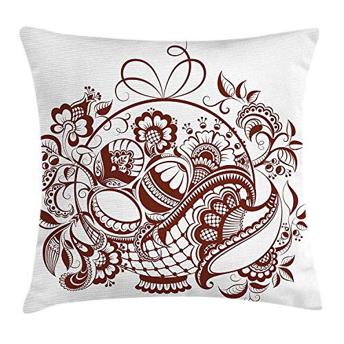 XIAOYI Ethnic Throw Pillow Cushion Cover, Classic Blossom Swirls with Middle Eastern Arabian Bohemian Influences Pattern, Decorative Square Accent Pillow Case, 18 X 18 inches, Brown and White -