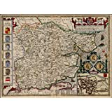 Reproduction Antique County Map of Essex England, by John Speed Size 43.5 x 33 cm
