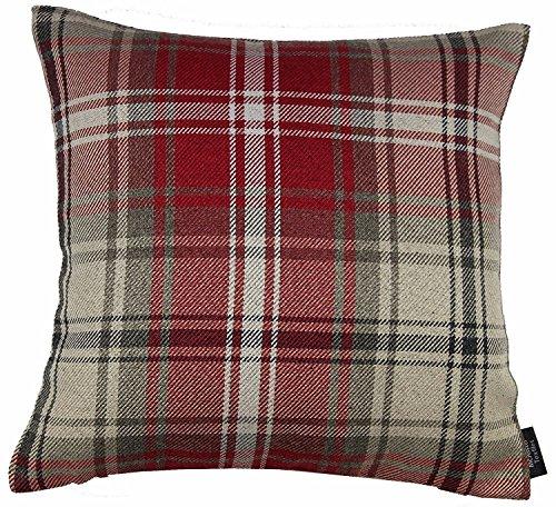 McAlister Textiles Signature Kollektion | Angus Extragroßes Zierkissen im Tartan-Muster Kariert mit Füllung | 60cm x 60cm in Rot | Deko Kissen für Sofa, Bett, Couch im Schottenkaro
