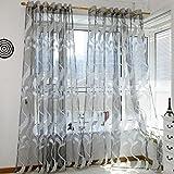 """Modischer Fenster-Vorhang im Stil """"Wehender Weizen"""" von Yoyoug, Tüllvorhang aus weichem, glattem Schleierstoff, komfortables Vorhangtuch, 1 Stück, geeignet für zuhause, grau, Einheitsgröße"""