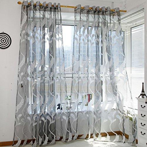 Yoyoug, tenda per finestra alla moda, design trasparente con motivo a spighe di grano, in voile, in tessuto liscio, morbido e confortevole, decorazione per casa, gray, taglia unica