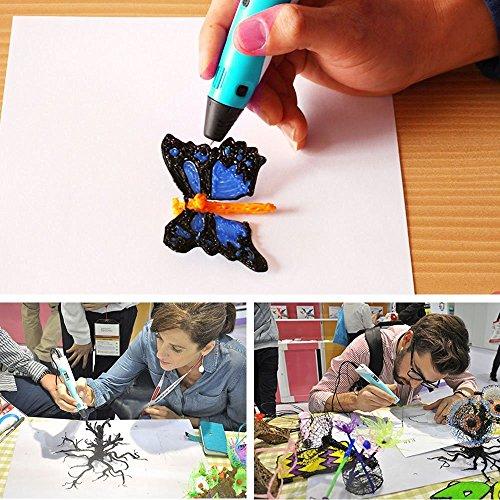 [3D Printer Pen mit LCD Bildschirm] ohCome 3D Stereoscopic Druck Detailzeichnung Pen für 3D Doodling Malerei + Modellierung + Kunst + Handwerk Printing, kompatibel mit 1.75mm PLA / ABS Printer Filaments - Blau - 4