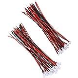 GTIWUNG 20 Pares Mini Micro JST XH 2.0 2 pines macho Conector Plug, JST Enchufe de Conector Hembra y Macho Con 80mm Wire