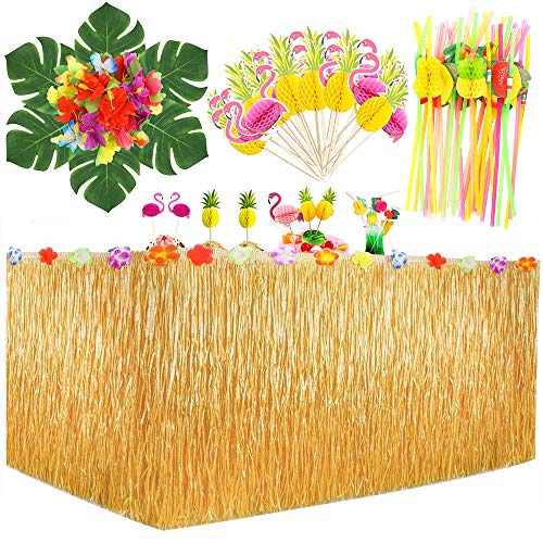 MMTX Hawaiano Luau Gonna da Tavolo, 9.6ft Table Skirt Decorazioni per Feste Tropicali con Foglie di Palma Fiori, Cake Topper e trecce di Frutta 3D per L'Estate Tiki Party Decorazioni da tavola